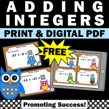free adding integers games activities task cards 6th 7th grade