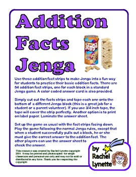 Addition Facts Jenga