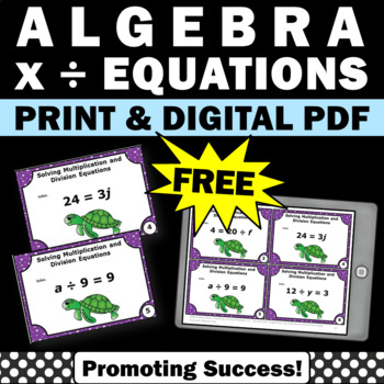 free algebra task cards for 5th and 6th grade