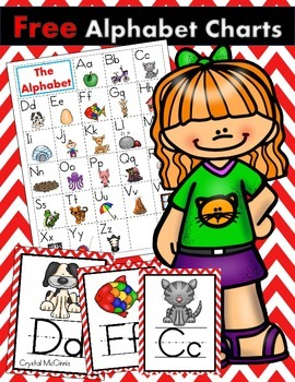 FREE Alphabet Charts for Guided Reading Plus Posters-Red Chevron