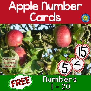 FREE APPLE Math Number Cards for Sequencing, Matching, Mem