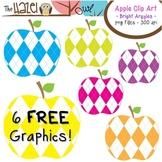 FREE Apples Set: Clip Art Graphics for Teachers {Bright Argyles}