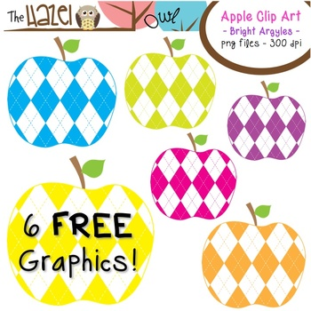 FREE Apples Set: Clip Art Graphics for Teachers {Bright Argyles}