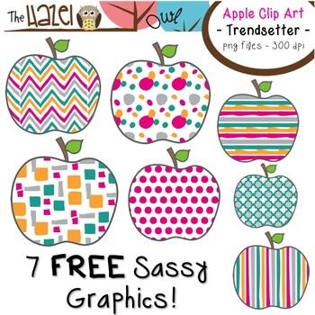 FREE Apples Set: Clip Art Graphics for Teachers {Trendsett