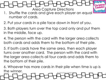 Area and Multiplication Capture Game- FREE