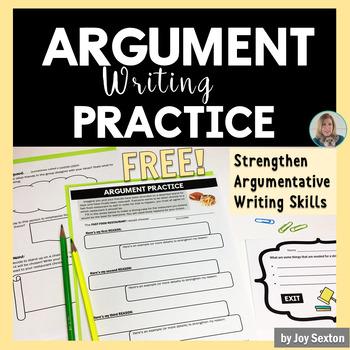 Argument Writing Practice Activity - FREE - Common Core