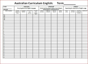 FREE Australian Curriculum ENGLISH Marking Grid Grade 7 - 10