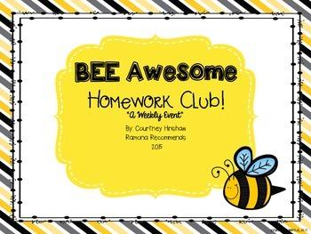{FREE} BEE AWESOME HOMEWORK BOARD
