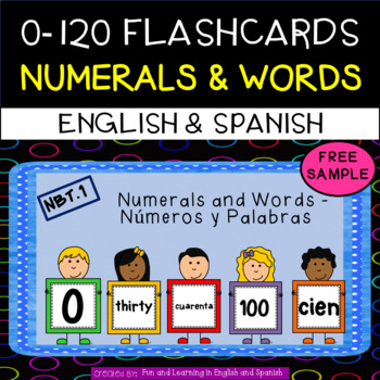 FREE SAMPLE 0-120 Numbers and Number Word Flashcards(Engli