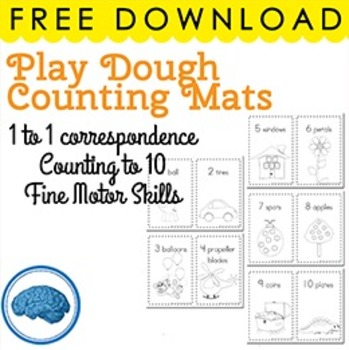 FREE B&W Play dough Mats - Counting, 1 to 1, Fine Motor
