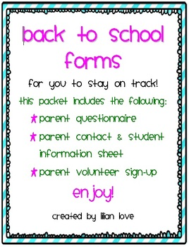 FREE Back to School Forms and Questionnaires!