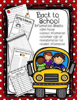 FREE- Back to School Informational Paperwork