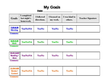 FREE Behavior Chart Template by Corrina Allen | Teachers Pay Teachers