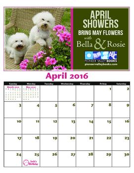 FREE Bella and Rosie April Calendar
