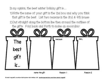 FREE! Best Winter Holiday Gift: Opinion Writing Accordion