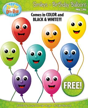 FREE Birthday Balloon Face Smiley Clipart Set Faces Emotio