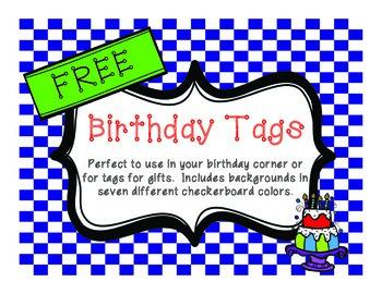 FREE Birthday Tags