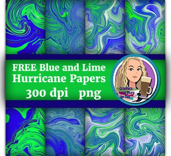 FREE Blue and Lime Hurricane Papers