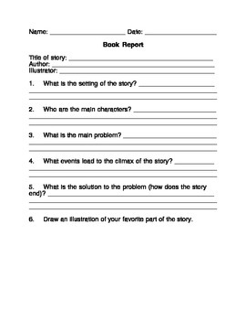 FREE Book Report Template For Any Fictional Story