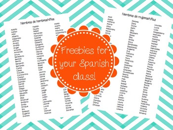 FREE Boy and Girl Spanish names for your Spanish classroom!