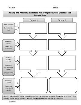 FREE CCSS Graphic Organizer: Making & Analyzing Inferences