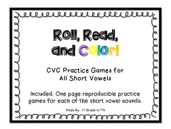 FREE CVC Roll, Read and Color Game