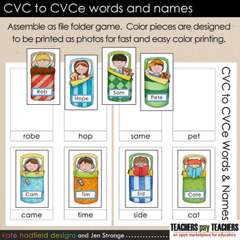 FREE! CVC to CVCe words and names sort (also called: bossy
