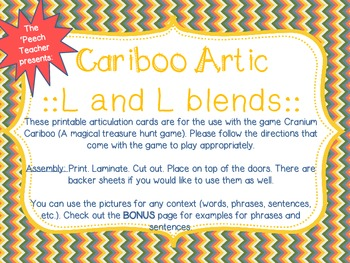 FREE Cariboo Articulation cards: /l/ and /l/ blends with a BONUS