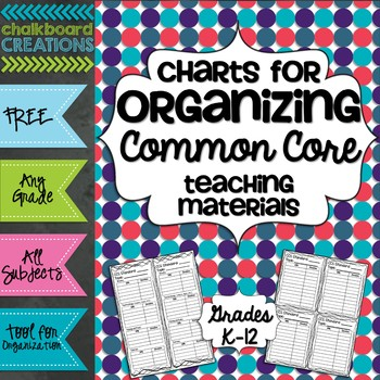 FREE Charts for Organizing Common Core Teaching Materials