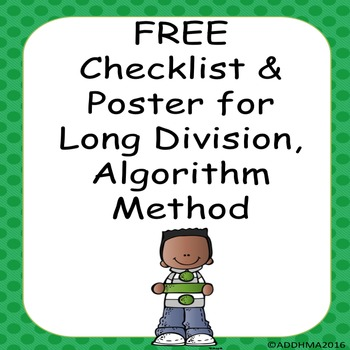 FREE Checklist and Reminder Poster for Long Division/Divis