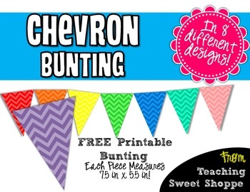 FREE Chevron Bunting - A Rainbow of Colors!