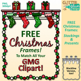 FREE Christmas Frames Clip Art: Stockings & Presents