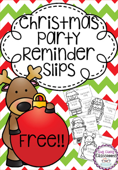 FREE - Christmas Party Reminder Slips