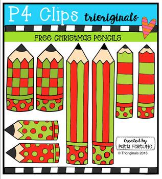 FREE  Christmas Pencils (P4 Clips Trioriginals Digital Clip Art)