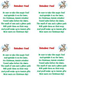 FREE Christmas Poem - Reindeer Food