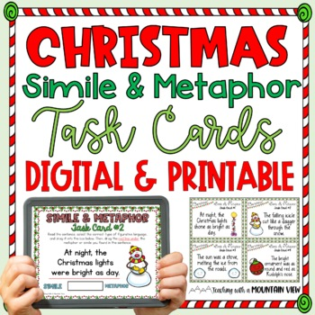 {FREE} Christmas Simile and Metaphor Task Cards {Holiday F