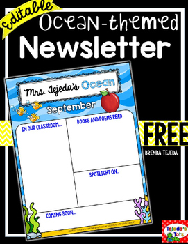original-2643180-1 Ocean Themed Newsletter Template on microsoft word, free printable monthly, free office, classroom weekly, fun company,