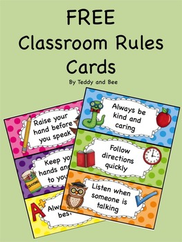 FREE Classroom rules cards