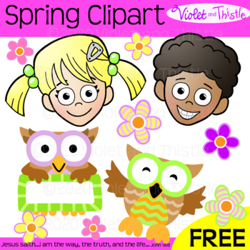 FREE Clipart Kids Spring Flowers and Owls Clip Art