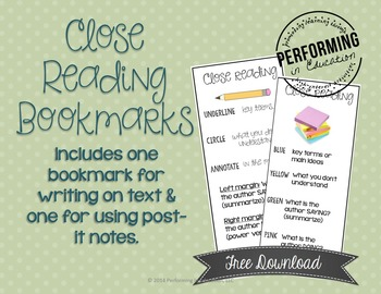 FREE Close Reading Bookmarks - Annotating Text & Post-it N