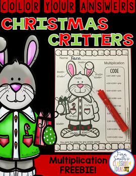FREE Color By Numbers Christmas Critters Advance Multiplication