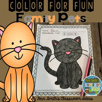 FREE Color For Fun Family Pets Cat Coloring Page