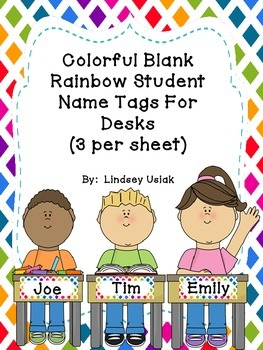 FREE Colorful Rainbow Theme Name Tags for Student Desks -