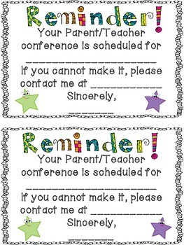 FREE Conference Reminder Note by Terra Kubert | Teachers Pay Teachers