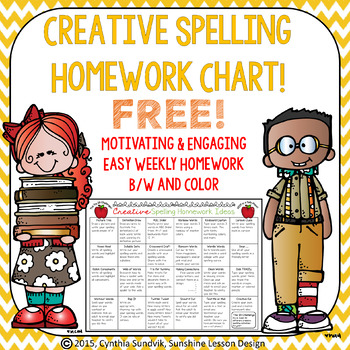FREE Creative Spelling Homework Ideas! Color and B/W! Stud