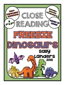 FREE Cuttin' It Close! DINOSAURS Close Reading Pack {Kinde