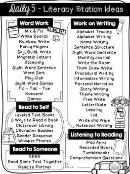 FREE Daily 5 Menu  / Literacy Station Ideas Printable