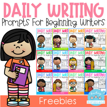 FREE Daily Writing Prompts for Beginning Writers by Teaching Biilfizzcend