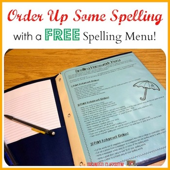 FREE Differentiated Spelling Homework Menu