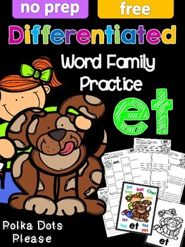 FREE Differentiated et Word Family Printables and Poster